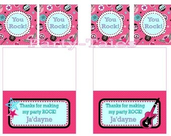 Rock Star Rocker Princess Birthday Girl Party Printable THANK YOU favor tags Personalized by PartyTales