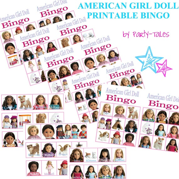 INSTANT DOWNLOAD American girl Doll Printable birthday party BINGO Game for 12 and Call out Cards