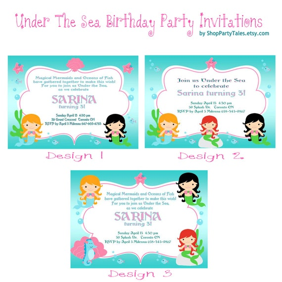 UNDER THE SEA  Mermaid Invitations Printable Birthday Girl Party Custom Personalized- as seen in Hostess witht the mostess