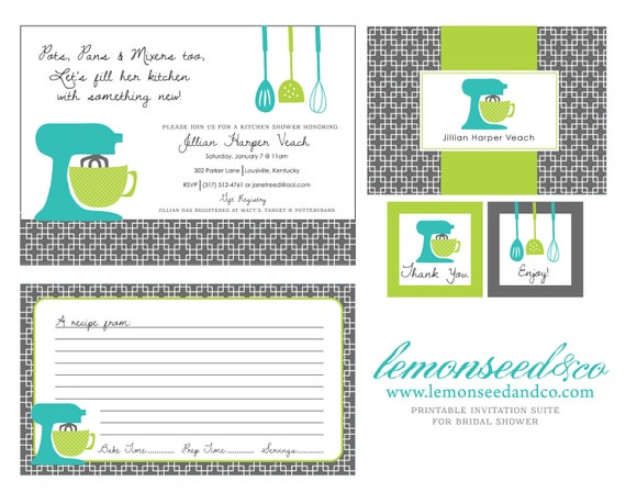 Printable Kitchen Shower Invitations, Bridal Shower Invitations ...