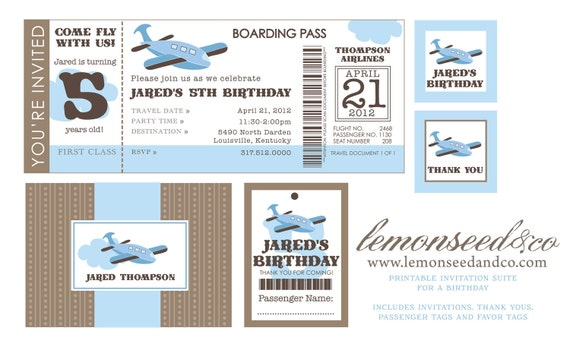 Items similar to Printable DIY Airplane Birthday Invitation – Airplane Ticket Invitations