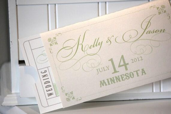 Items Similar To Wedding Invitations Ticket Invitations Vintage Style Ticke
