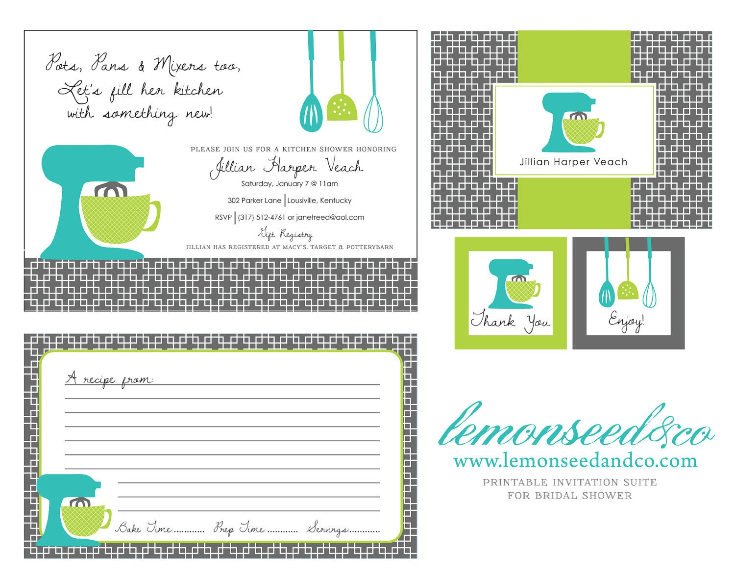 Printable Kitchen Shower Invitations Bridal Shower