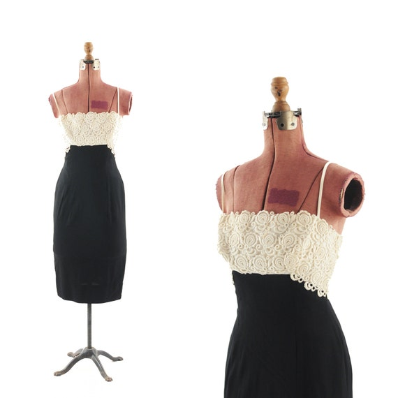 Vintage 1950's Black Crepe Sheer Cotton LACE Hourglass Couture Dress S