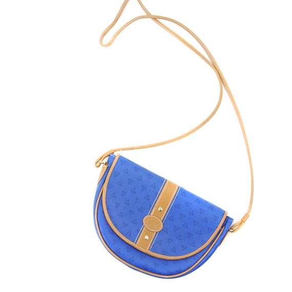 Vintage 1980's Electric Blue Leather Trim CROSSBODY Mini Shoulder Purse