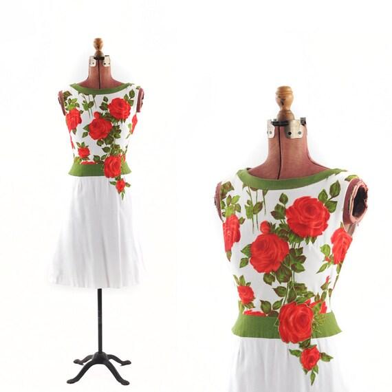 Reserved for: CarmenDelRio Vintage 1950's Summer Red ROSE Floral Print Party Dress M