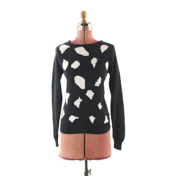 Vintage 1980's Oleg Cassini Modern Abstract Polka Dot Sweater L