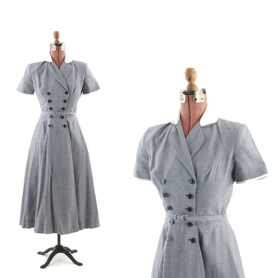 RESERVED For: Martina O'Sullivan Vintage 1940's Houndstooth Military Double Breasted Party Swing DRESS S