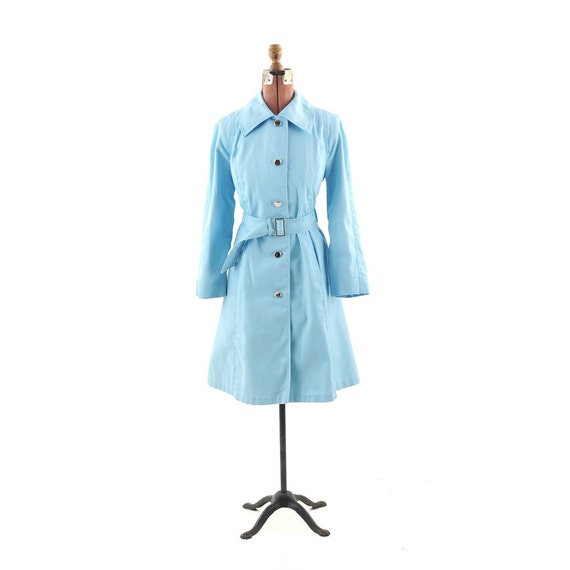 Vintage 1960's Powder Blue MOD Spring Rain Trench COAT M