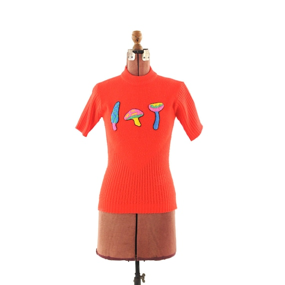 Vintage 1970s Neon Red Psychedelic Mushrooms Sweater Top M