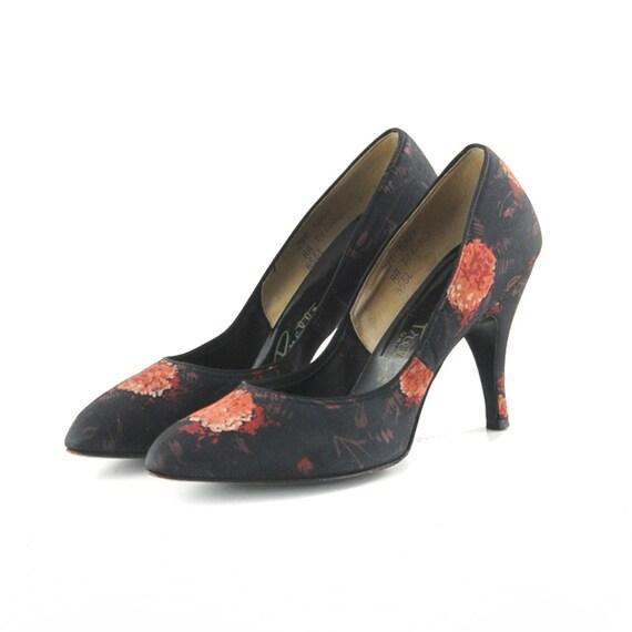 Reserved for: vintage4700 Vintage 1950's Black FLORAL Print Stello High Heals Cocktail Shoes 8