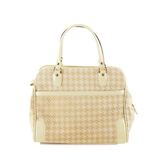 Vintage 1960's I MAGNIN Oversized Tan Houndstooth Handbag Purse
