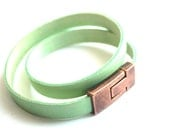 "bracelet mintcolored leather""free worldwide shipping"""