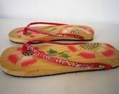 Wooden Flip Flop Vintage Beach Cottage Hand Painted Sandals