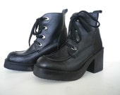 Black Leather Booties Vintage Mustang Shoes