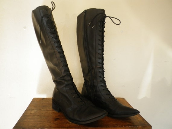 Vintage Black Leather Lace Up Tall Boots