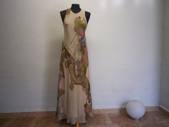 Silk Long Dress French Vintage Printed Clothing Woman