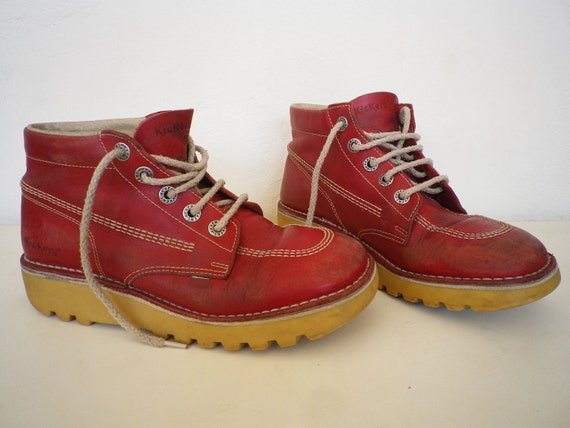 Kickers Leather Booties Vintage Red Classic Shoes by MariaBaba