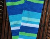 Baby Leg Warmers: Spring Blue & Green Stripes