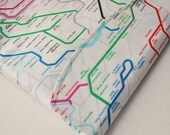 iPad padded gadget pouch: London underground travel map print in white. Made to order