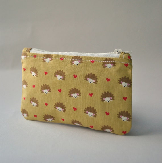 Coin purse wallet: Michael Miller hedgehog heaven in mustard and red with hearts.
