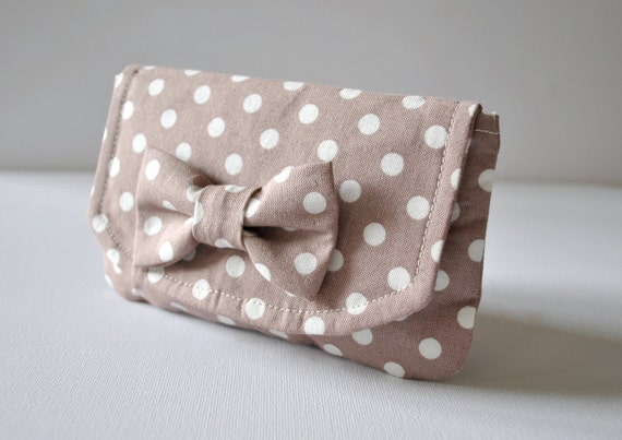 Purse wallet pouch:Polka dot spot in white and brown with bow. Made to order