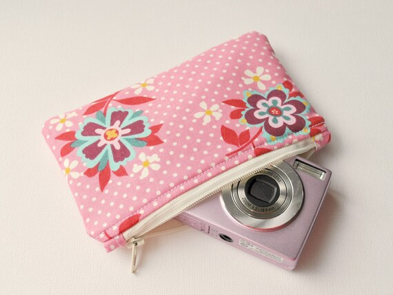 Padded camera pouch: Pink polka dot spot with florals.