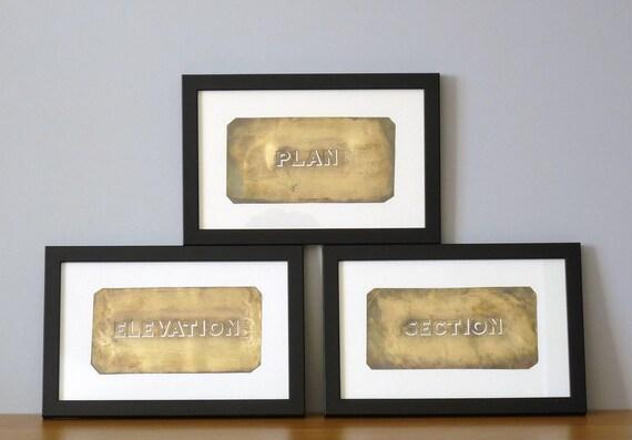 RESERVED: SARA COHEN Framed Antique Stencil Trio