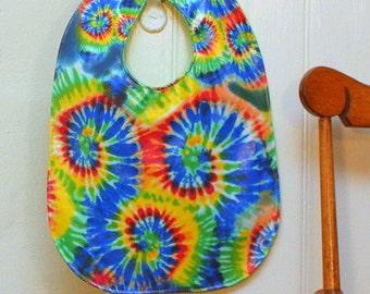 Baby Bib in Waterproof Tie-Dye Print