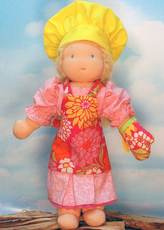 Waldorf Doll Apron, Chef Hat and Oven Mitt in Pink Posies