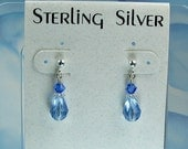 Girls blue earrings. sterling silver post, Swarovski crystals.