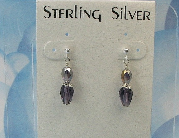 SALE...Girls crystal earrings. sterling silver post. Swarovski purple crystals