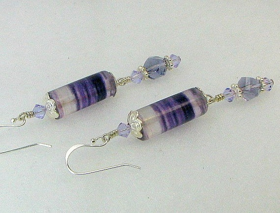 SALE...Purple amethyst stones, Swarovski crystals, sterling silver earwires and accents.
