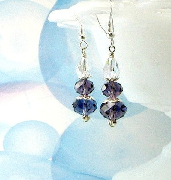 Purple crystal earrings, sterling silver earwires, Swarovski crystals.