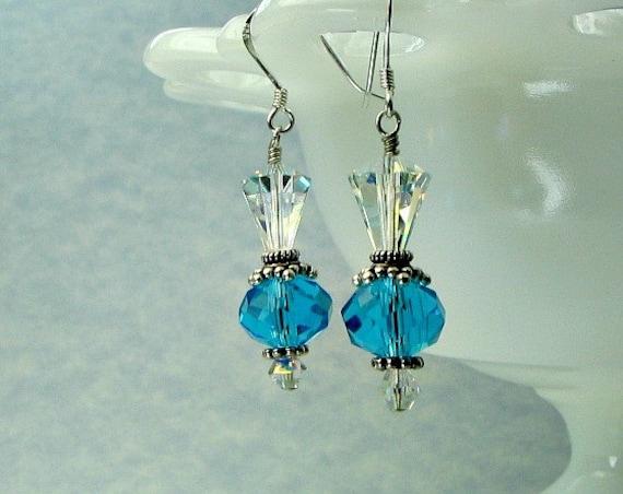 Crystal turquoise earrings, sterling silver earwires, Swarovski crystals..