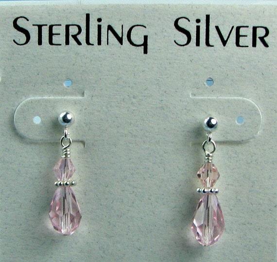 Girls crystal earrings, Swarovski pink crystal, sterling silver posts.