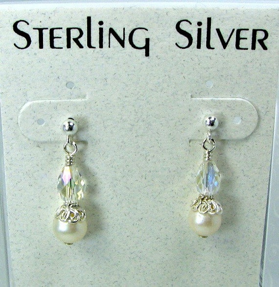 SALE....Girls white pearl and crystal earrings. sterling silver post, Swarovski AB crystals.