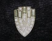 Vintage 1920's Clear Rhinestone Dress Clip in Shield Design