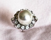 SALE  Vintage 1970's Sarah Coventry Giant Pearl and Rhinestone Cocktail Ring with Rhodium Finish