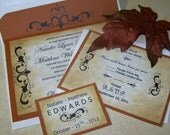 Luxurious Autumn - Wedding Invitation Set - Very Vintage - RSVP - Reception - Presonalized Seal - Sample