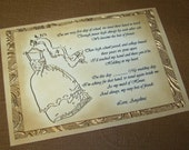 Maid of Honor - Luxurious Gold Embossed -  Vintage Gold Layered Keepsake - Original Quote - Card