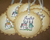 Easter Tags - Bunnies - Easter Ornaments - 3 by 3 Scalloped Circle - Vintage Appearance -  Handpainted - Gift tags - Set of 6 tags