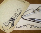 Wedding Stationery Set - Print Your Own Invitations - Elegant Dress - Scroll Design - Parchment Paper -  50 Sheets - 50 Envelopes