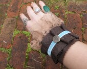 ADELLA - Wrist Cuff with Ruffles and Lace Steampunk Victorian Eco Chic