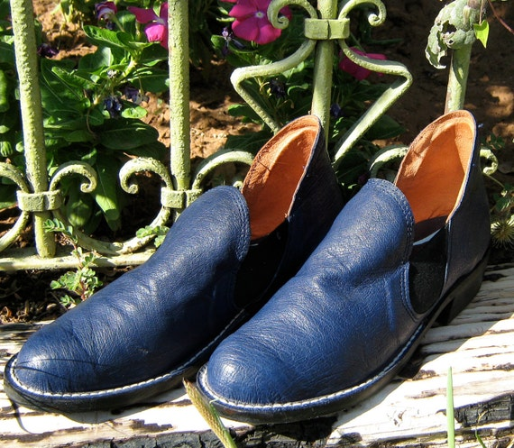 SVIG Soft Leather Navy Blue Italian Ankle Boots