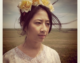 yellow rose flower crown headband music festival coachella wreath