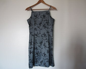 grey gray spaghetti strap mini dress high square neckline grunge 90s square neck XS S limited too