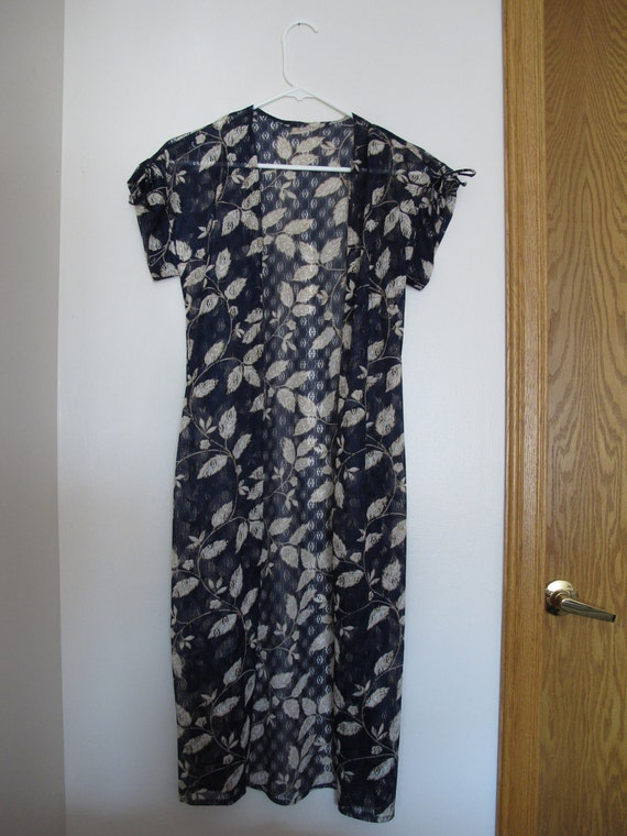 Navy Blue Gold Leaves Sheer Lace Duster Maxi Dress Blouse Top