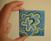 One of a Kind Original 4x4 Blue Swirl Acrylic Art Mini Canvas -  Rejuvenating Waters