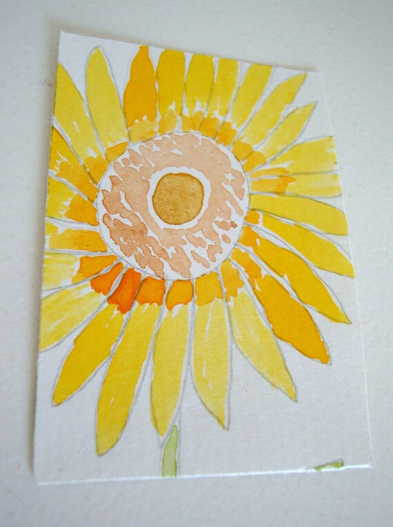 Sunflower ACEO Original Watercolor Painting - 'Shine on'